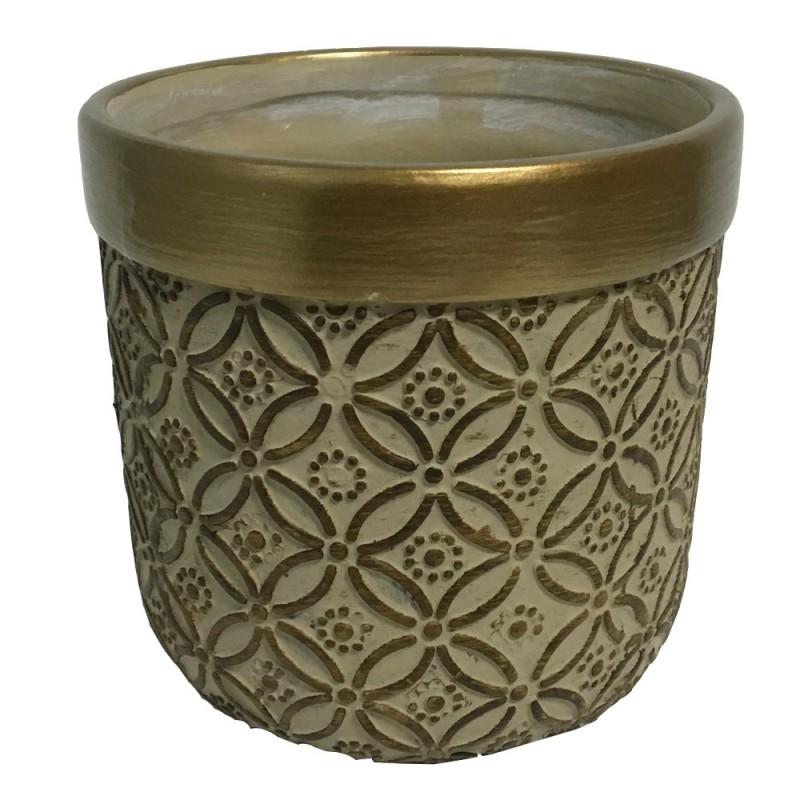 Cache pot en ciment couleur bronze avec motif arabesque 14x14x13cm