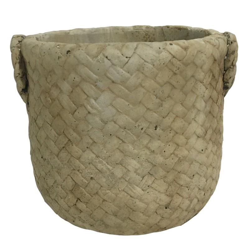 Cache pot en ciment imitation vannerie couleur marron 12x11x9,5cm