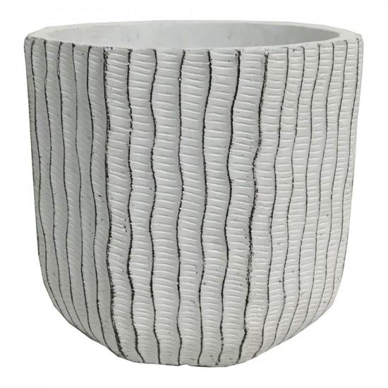 Cache pot en ciment avec motif rayure ondulé couleur blanc 16,5x16,5x14,5cm
