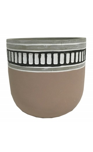 Cache pot en ciment couleur rose avec bordure à motif rectangulaire 14x14x13cm
