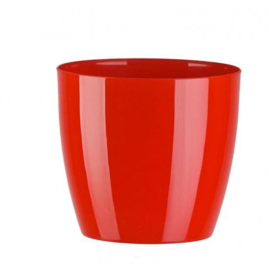 """Cache pot en plastique """"Aga"""" couleur rouge Ø16cm H14,5cm"""