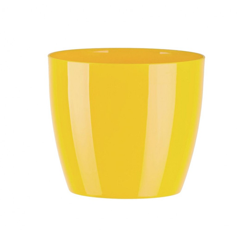 """Cache pot en plastique """"Aga"""" couleur jaune Ø23cm H20,5cm"""