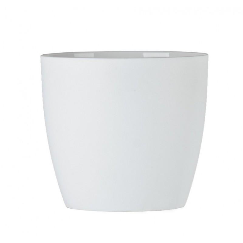 """Cache pot en plastique """"Aga"""" couleur blanc mat Ø12cm H11cm"""