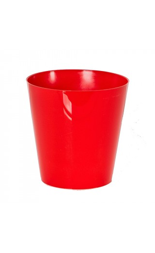 "Cache pot en plastique ""Simple"" couleur rouge Ø15cm H15cm"