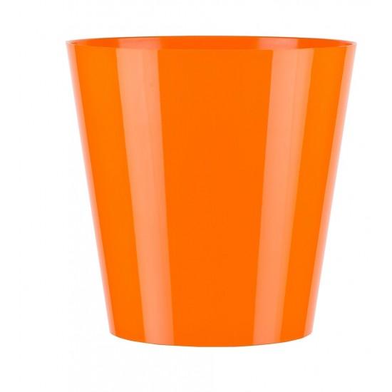 """Cache pot en plastique """"Simple"""" couleur orange Ø13cm H13cm"""