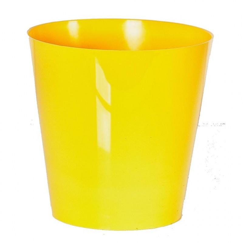"""Cache pot en plastique """"Simple"""" couleur jaune Ø15cm H15cm"""
