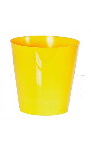 "Cache pot en plastique ""Simple"" couleur jaune Ø8,5cm H9cm"