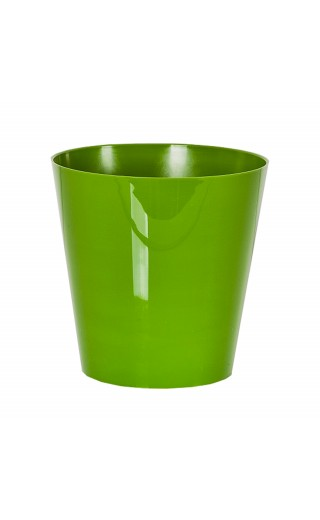 "Cache pot en plastique ""Simple"" couleur vert Ø15cm H15cm"