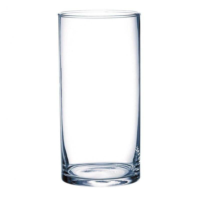 Vase en verre cylindrique ø10cm H25cm Transparent