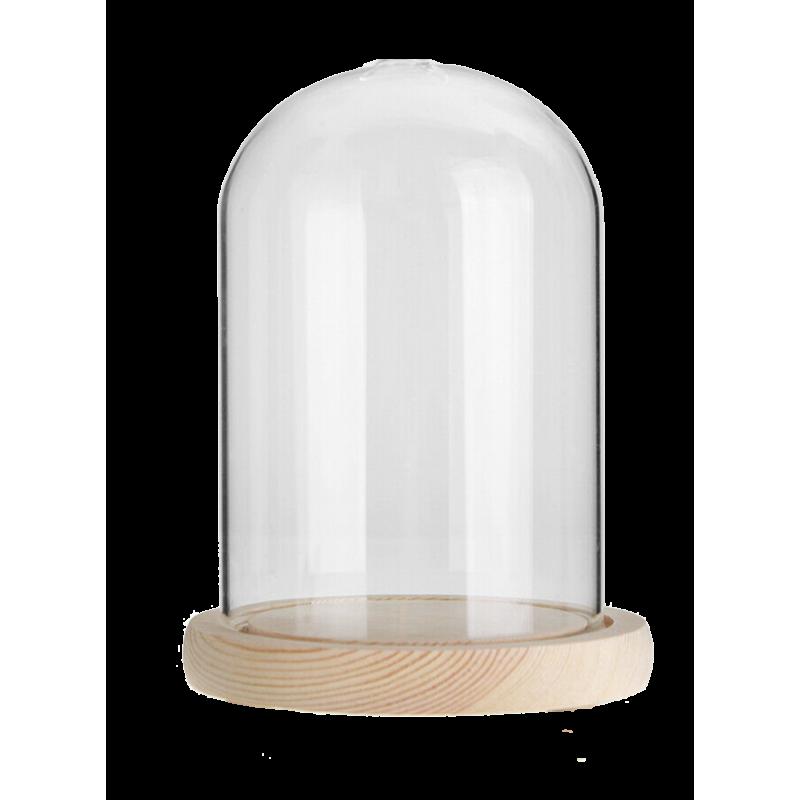Cloche en verre ø12cm H21,5cm avec ouverture