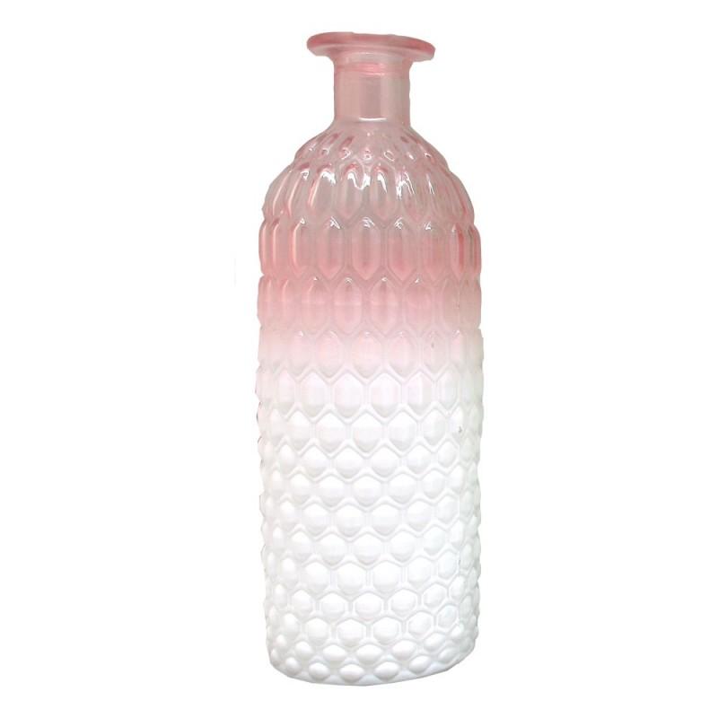 Bouteille en verre Rose et Blanc ø6,8 H20,3cm