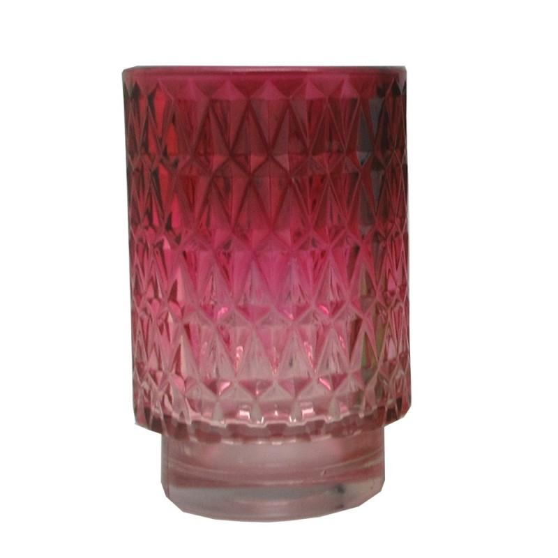 Photophore en verre Violet ø8,5cm H13cm