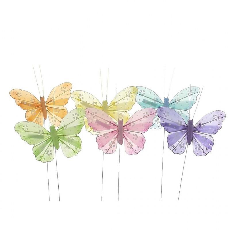 Papillon 6 couleurs par lot de 12 pièces  9 cm x H15 cm