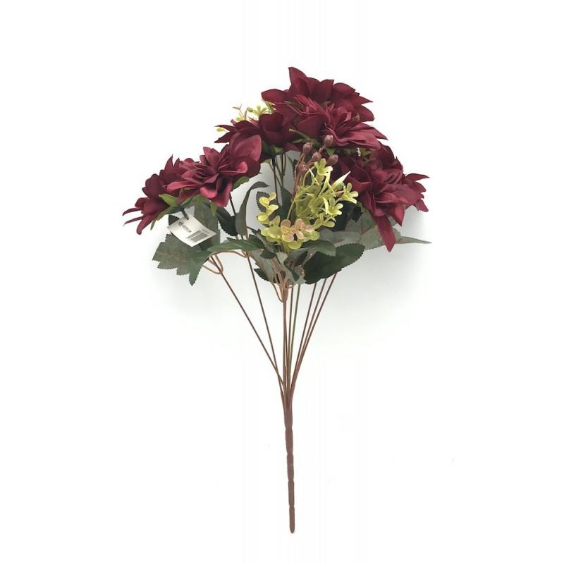 Piquet de dahlia artificiel rouge foncé 50 cm