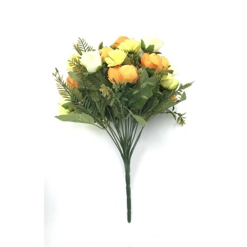 Piquet jaune orange de fleurs artificielles mélangées - Pivoines, roses et oeillets