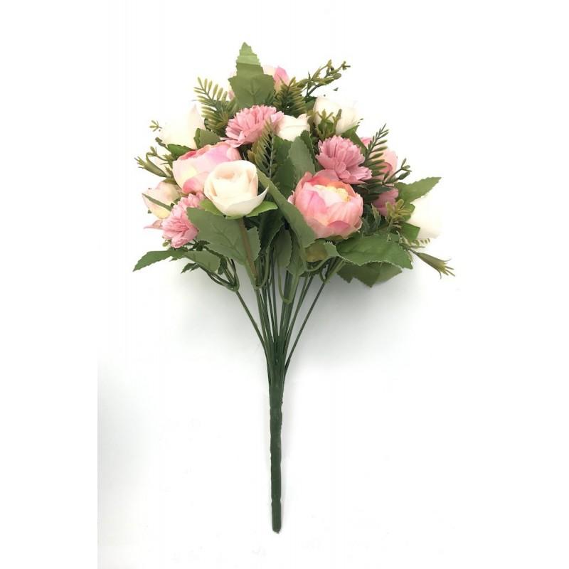 Piquet rose de fleurs artificielles mélangées - Pivoines, roses et oeillets