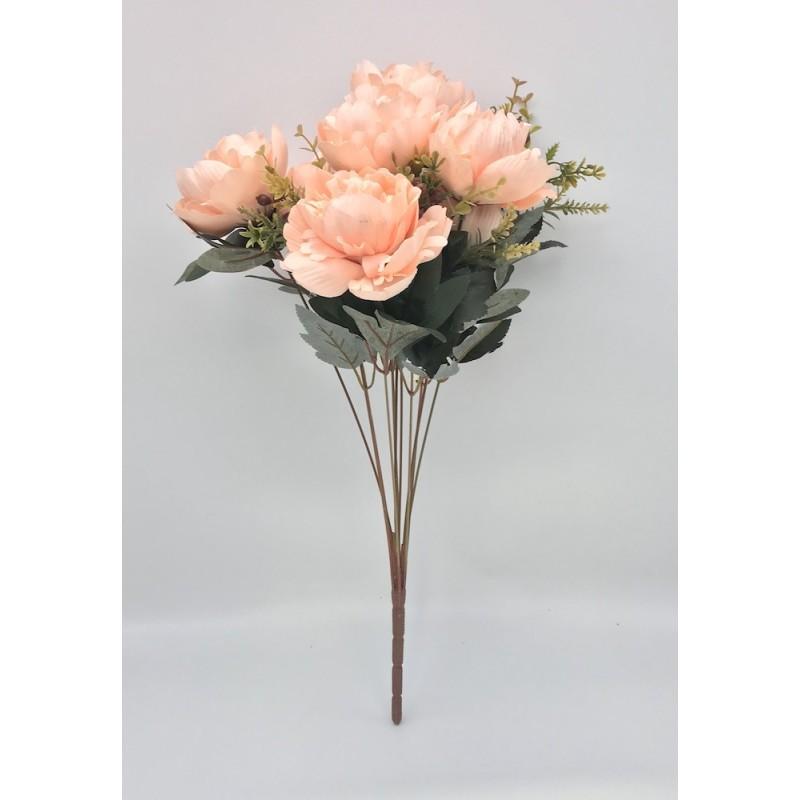 Piquet de pivoines artificielles rose - 50 cm