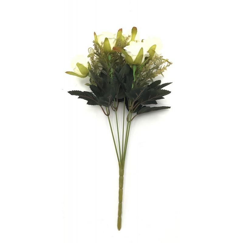 Piquet de roses artificielles crème 35cm