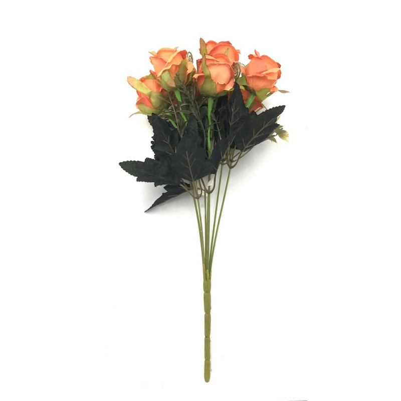 Piquet de roses artificielles orange 35cm
