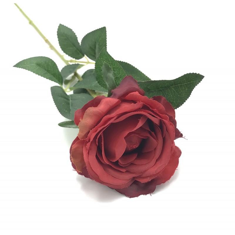 Rose sur tige artificielle rouge foncé 60cm