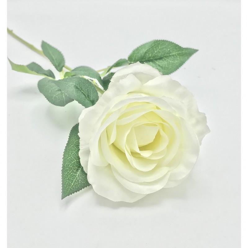 Rose sur tige artificielle crème 60cm