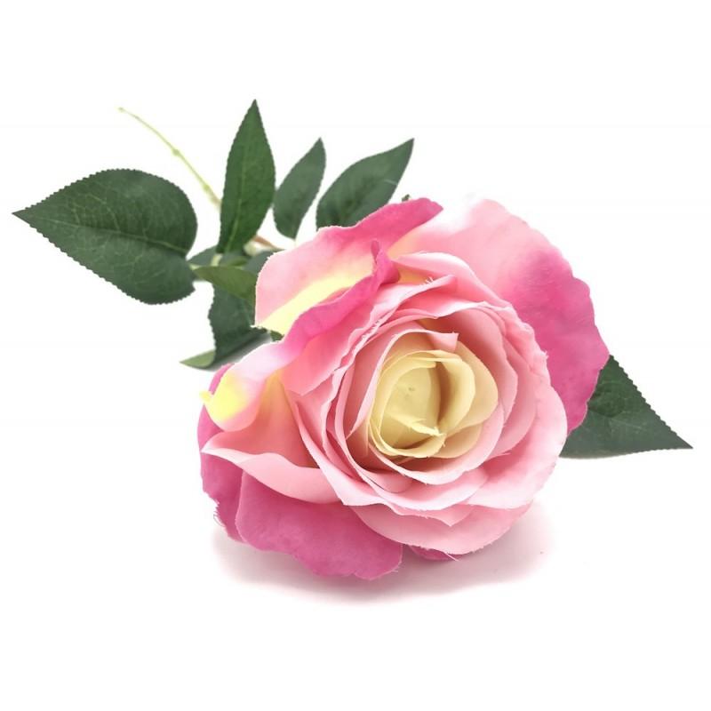 Rose tige artificielle rose PM 60cm