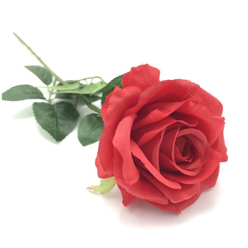 Rose sur tige artificielle rouge 60cm