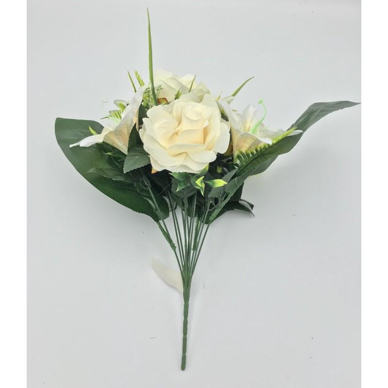 Piquet artificiel 12 branches roses et lys crème 40cm