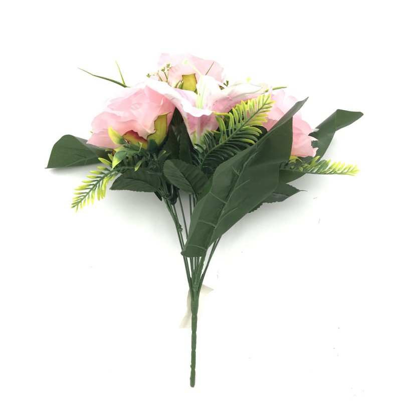 Piquet artificiel 12 branches roses et lys rose 40cm