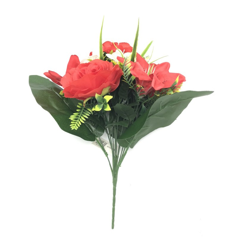 Piquet artificiel 12 branches roses et lys rouge 40cm
