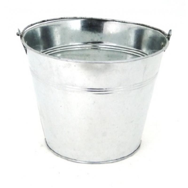 Seau zinc chromé ø17cm H14 cm
