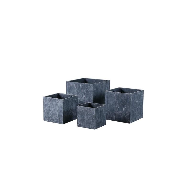 Lot de 4 pots carrés en résine gris square