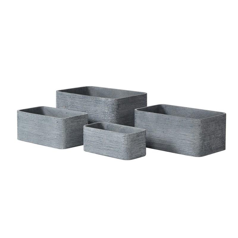 Lot de 4 pots rectangulaires en résine gris
