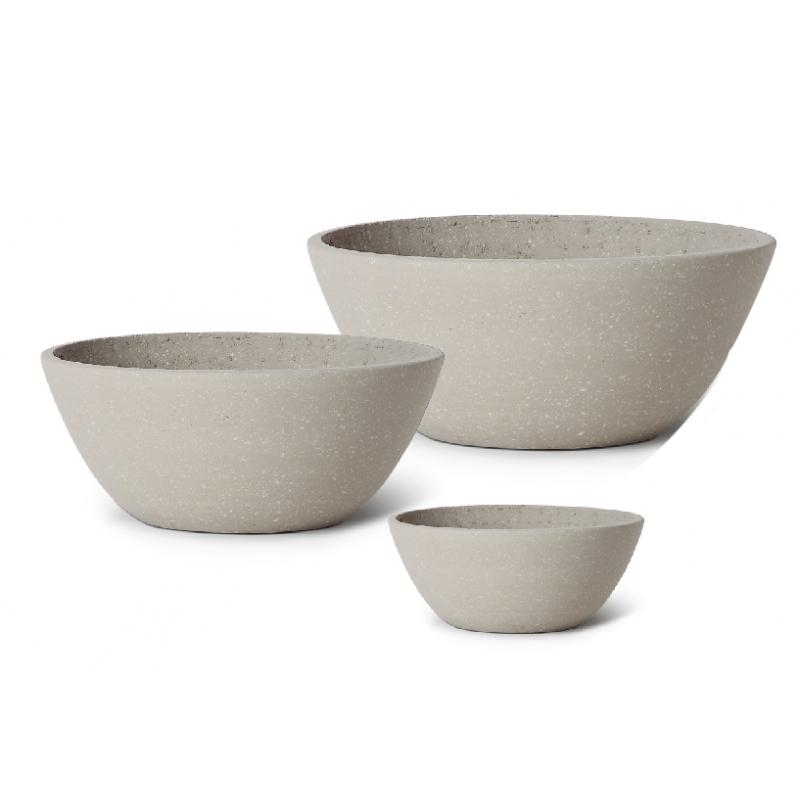 Lot de 3 pots en résine granite/crème