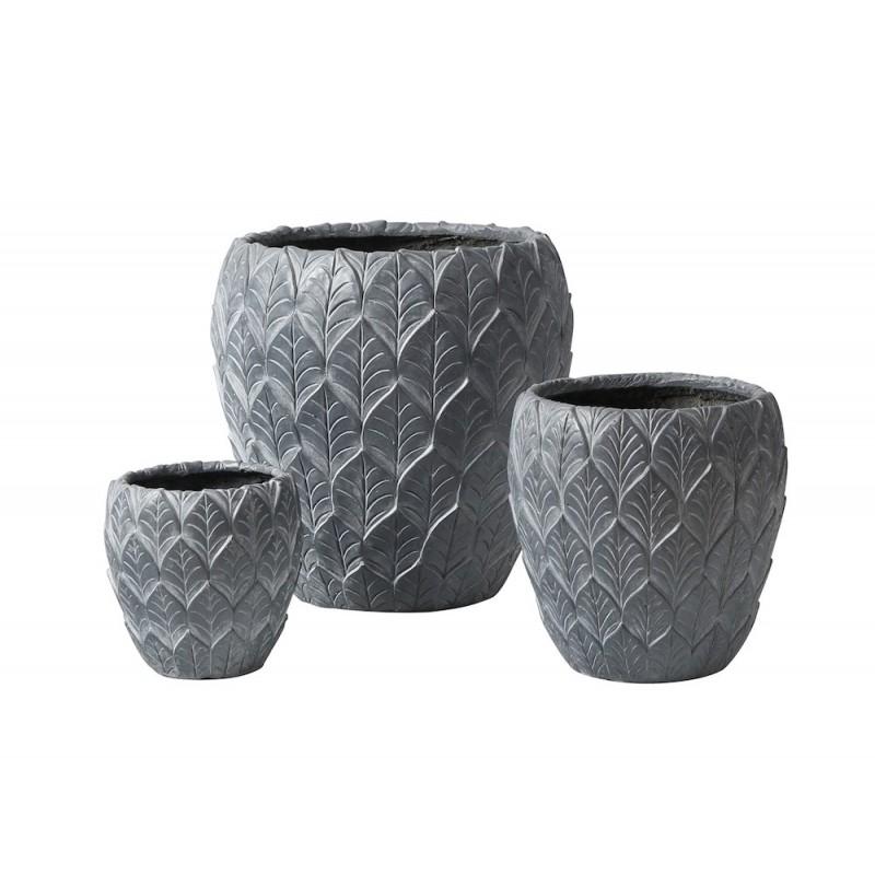 Lot de 3 pots Feuilles gris anthracite