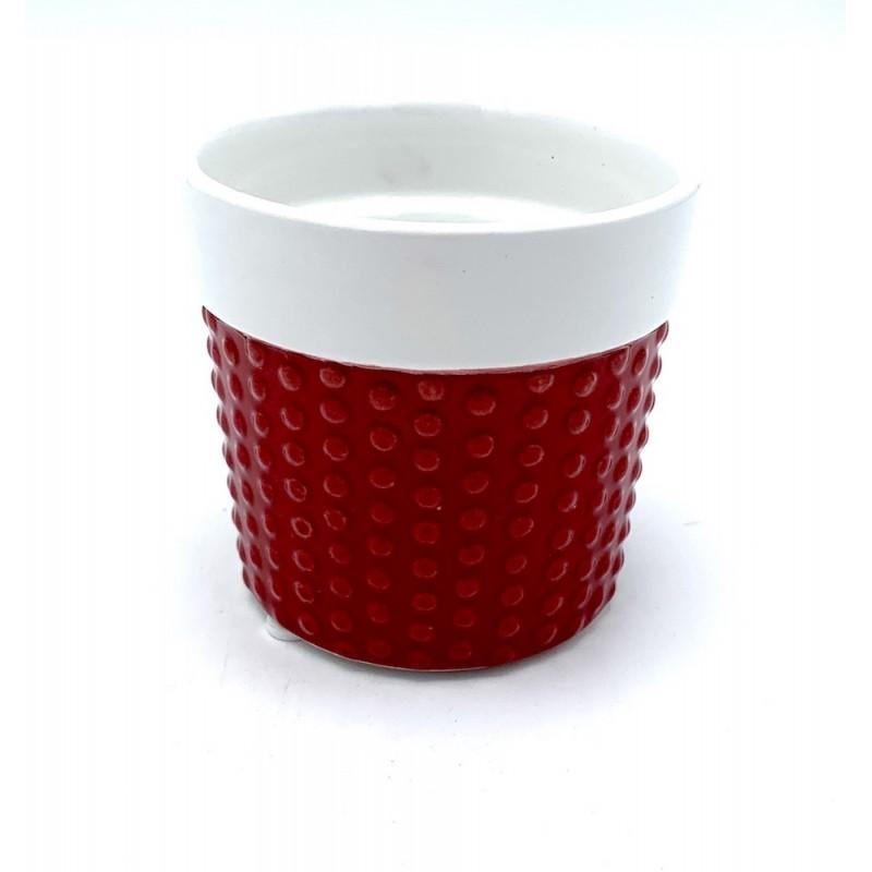 Pot en céramique rouge et blanc ø8