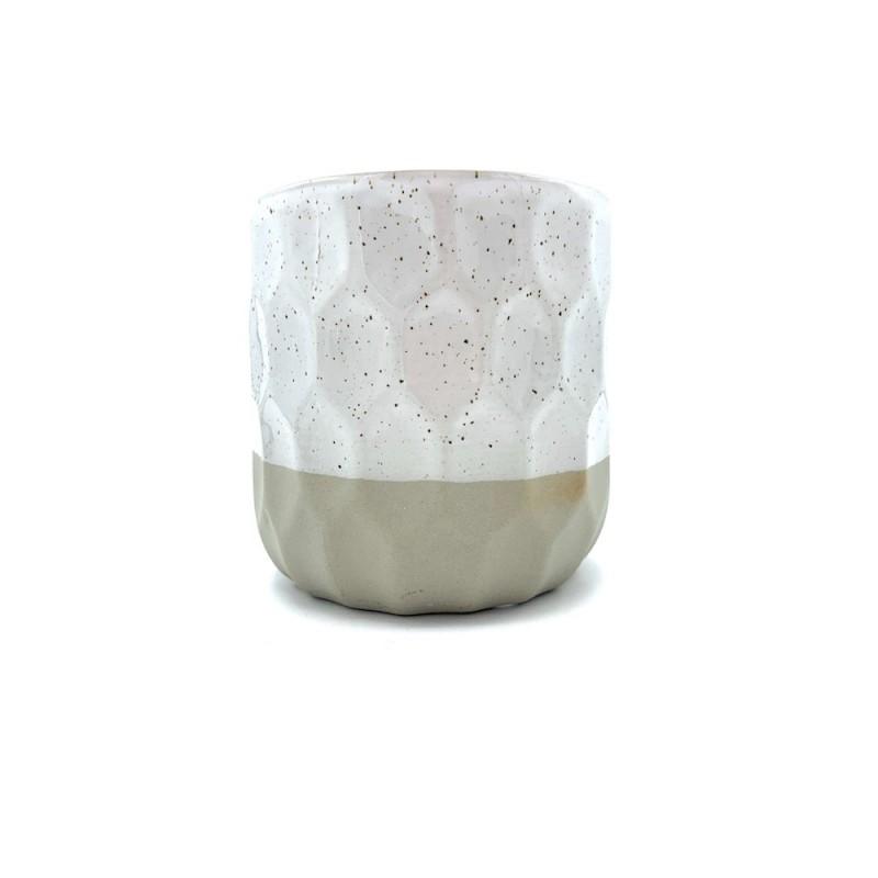 Cache pot en céramique blanc moucheté ø13