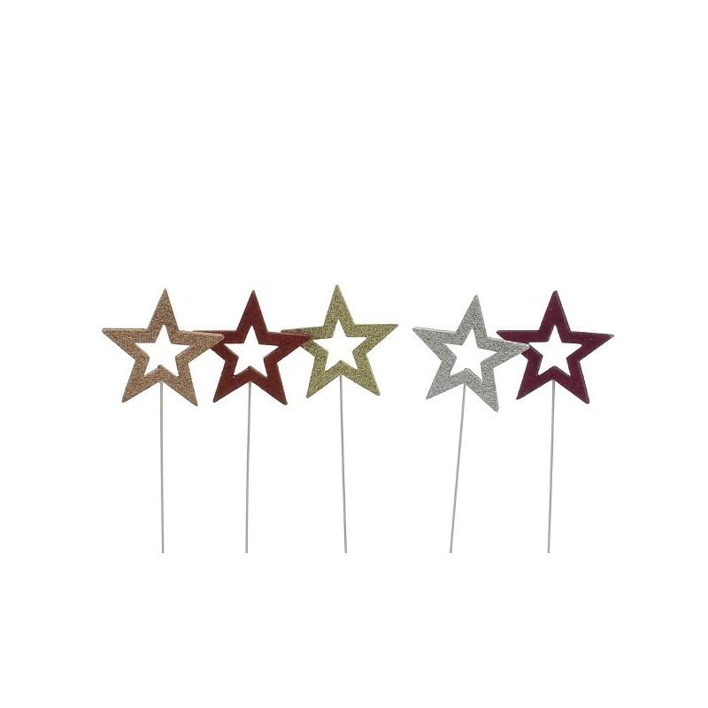 Pic étoile à paillettes 6 couleurs 12 pièces