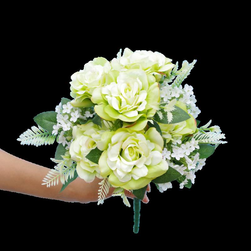 Piquet artificiel roses et fleurette en vert