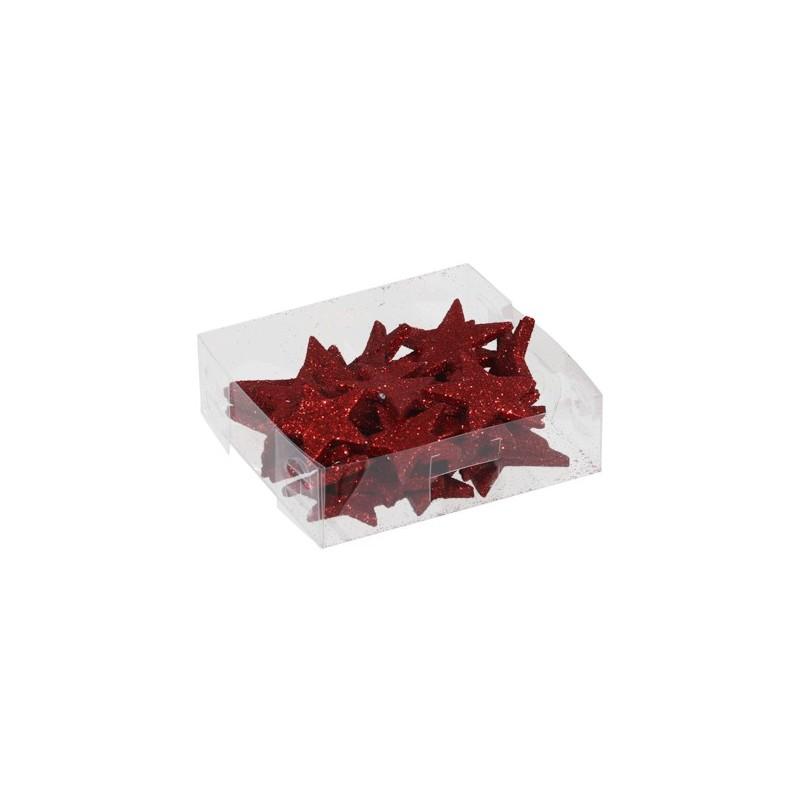 Boîte de 24 étoiles pailletées coloris rouge