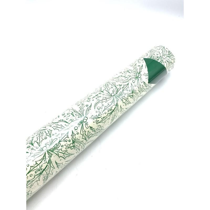 Rouleau papier imperméable motif houx coloris vert 0,70x40 m