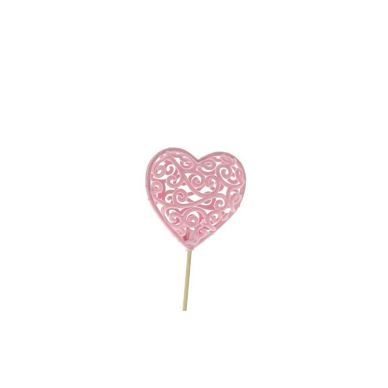 Pic coeur rose L7,5 cm H50 cm sachet de 12 pièces