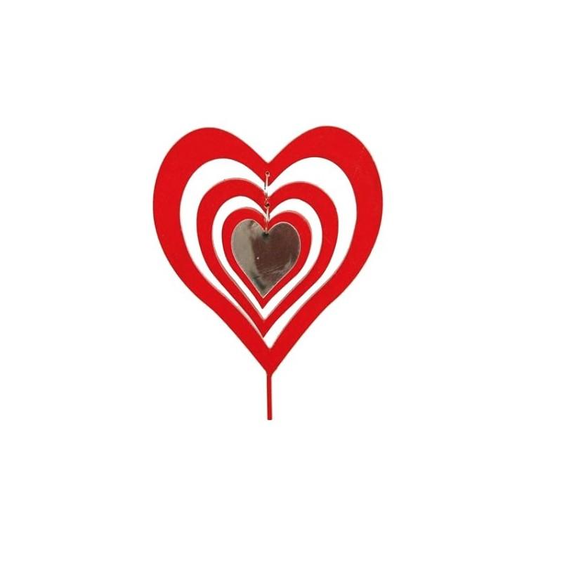 Pic coeur rouge et blanc lot de 12 pièces