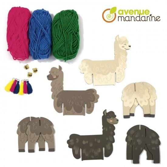 boîte créative -  lamas en laine - composition