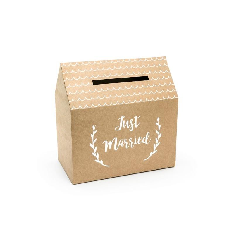"""Urne à enveloppes en carton """"Just Married"""" 30x30,5x16,5 cm"""