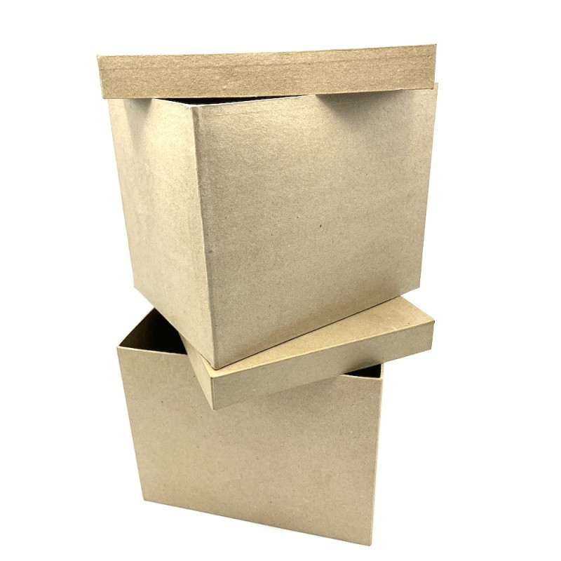 Boîte rectangle en lot de 2 en kraft naturel 23,5x18,5x19,5/25x20x20