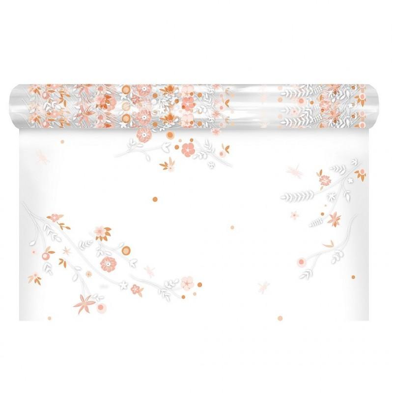 Polypro à motif floral coloris terracotta 0,80x120 m