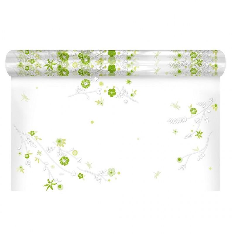 Polypro à motif floral coloris vert 0,80x120 m