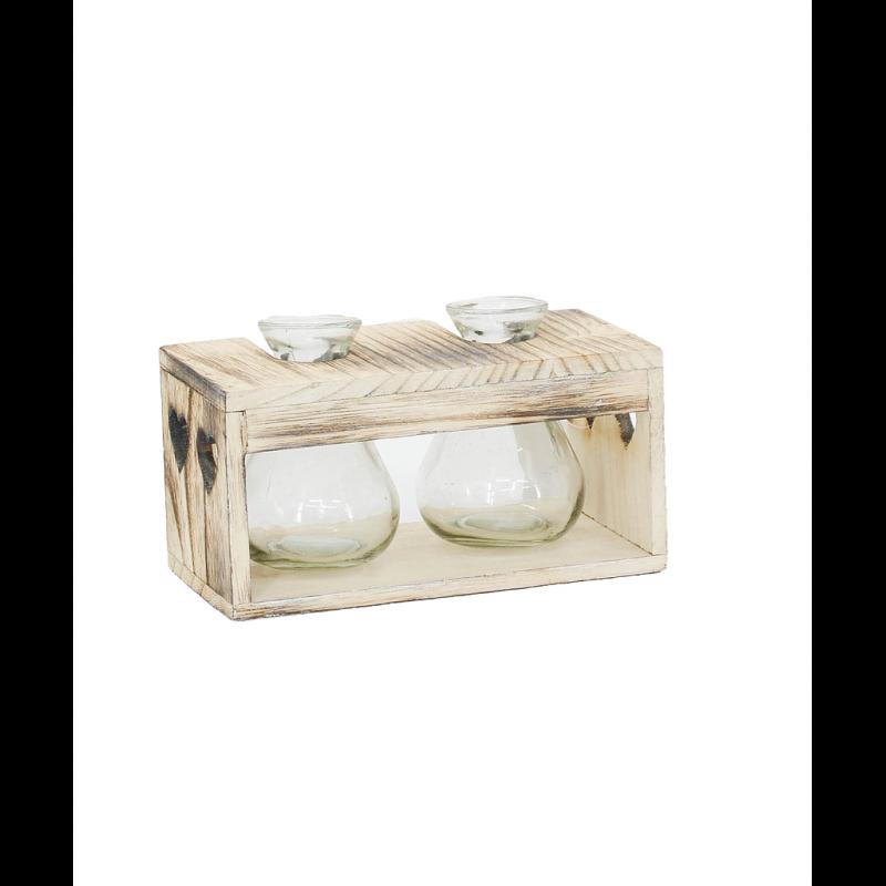 Bouteille en verre support bois avec découpe coeur 18,5x9xH11 cm