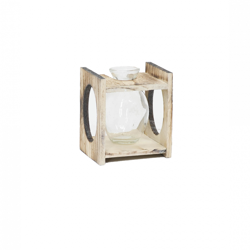 Bouteille en verre avec support bois découpe ovale 10,5x9xH12 cm